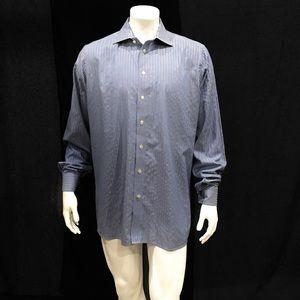 Eton Men's Blue White Striped Dress Shirt